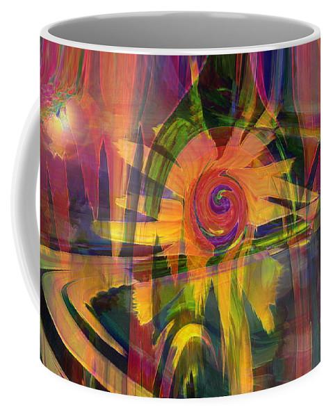 Abstract Art Coffee Mug featuring the digital art Oz And Poppies by Linda Sannuti
