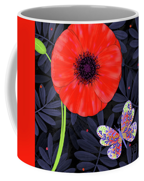 Letter Coffee Mug featuring the mixed media P Is For Pretty Poppy by Valerie Drake Lesiak