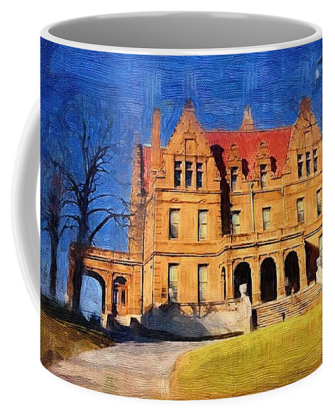 Architecture Coffee Mug featuring the digital art Pabst Mansion by Anita Burgermeister