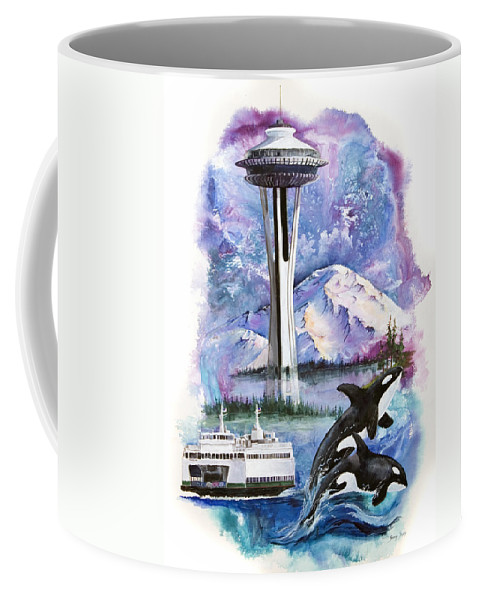 Mount Rainier Coffee Mug featuring the painting Pacific Northwest Montage by Sherry Shipley