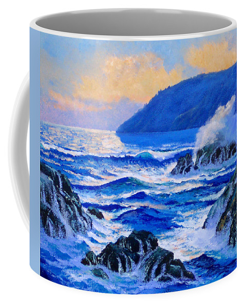Ocean Coffee Mug featuring the painting Pacific Sunset by Frank Wilson