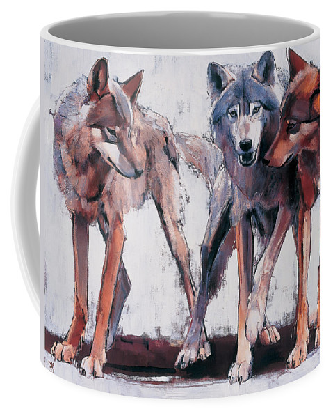 Wolves Coffee Mug featuring the painting Pack Leaders by Mark Adlington