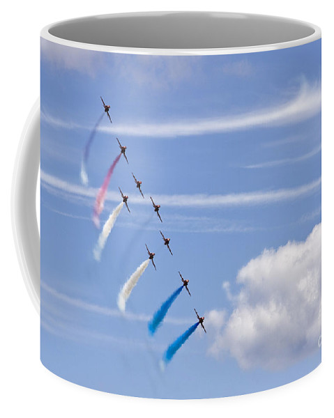 Red Arrows Coffee Mug featuring the photograph Paining On The Sky by Angel Ciesniarska