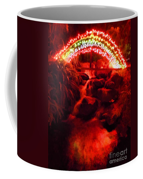 Christmas Coffee Mug featuring the photograph Painted Christmas Waterfall by D Hackett