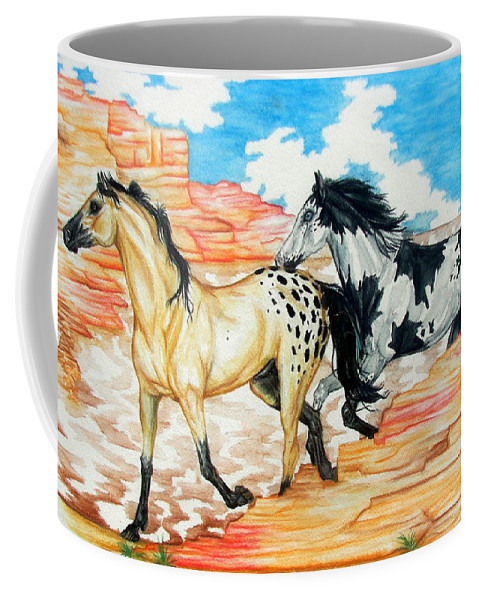 Horse Coffee Mug featuring the painting Painted Desert by Monica Turner