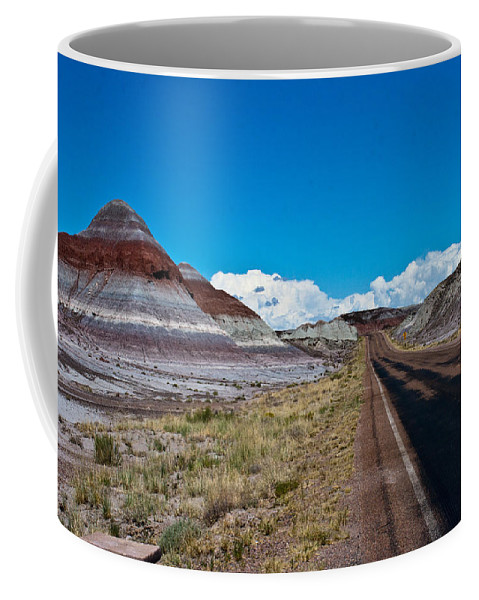 Painted Coffee Mug featuring the photograph Painted Desert Road #3 by Robert J Caputo