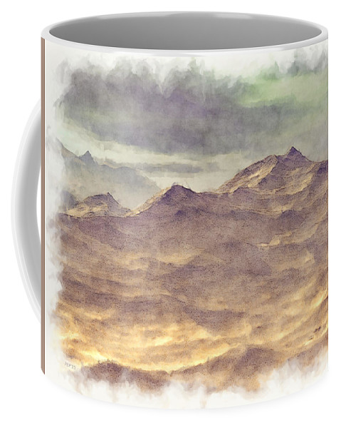 Mountains Coffee Mug featuring the digital art Mountainous Landscape by Phil Perkins
