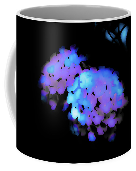 Coffee Mug featuring the photograph Painted Petals In Blue Purple by Heather Joyce Morrill