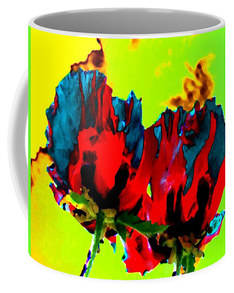 Poppies Coffee Mug featuring the digital art Painted Poppies by Will Borden
