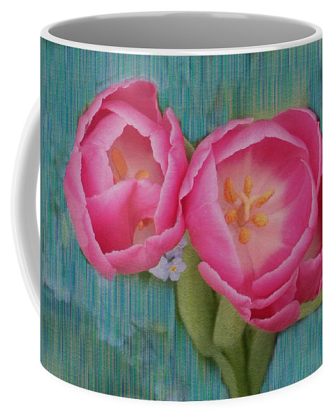 Flowers Coffee Mug featuring the photograph Painted Tulips by Linda Sannuti