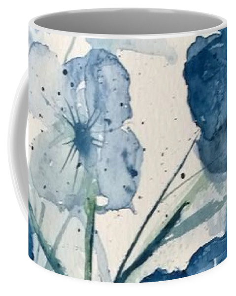 Flowers Coffee Mug featuring the painting Painterly Blues by Eunice Miller