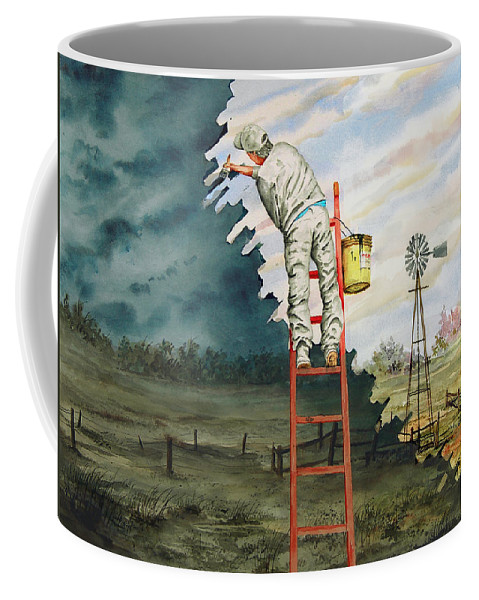 Landscape Coffee Mug featuring the painting Paintin Up A Storm by Sam Sidders