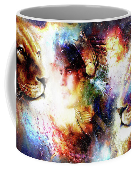 Painting Of A Young Indian Warrior Wearing A Gorgeous Feather Headdress With Lion Cosmic Background Profile Portrait Coffee Mug For Sale By Jozef Klopacka