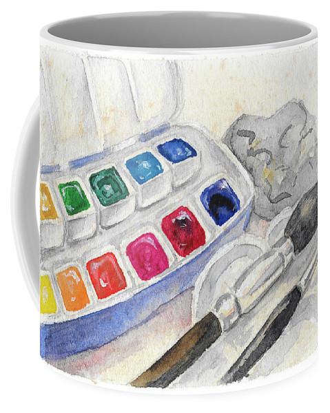 Paints Coffee Mug featuring the painting Paints by Yana Sadykova