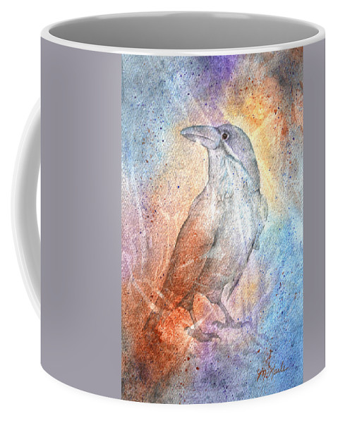 Cave Painting Coffee Mug featuring the painting Paleoimpression Raven 2 by Marsha Karle