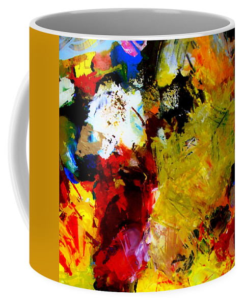 Rustic Coffee Mug featuring the painting Palette Abstract Square by Michelle Calkins