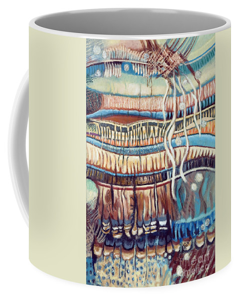 Abstract Coffee Mug featuring the painting Palm Contractions by Kerryn Madsen-Pietsch