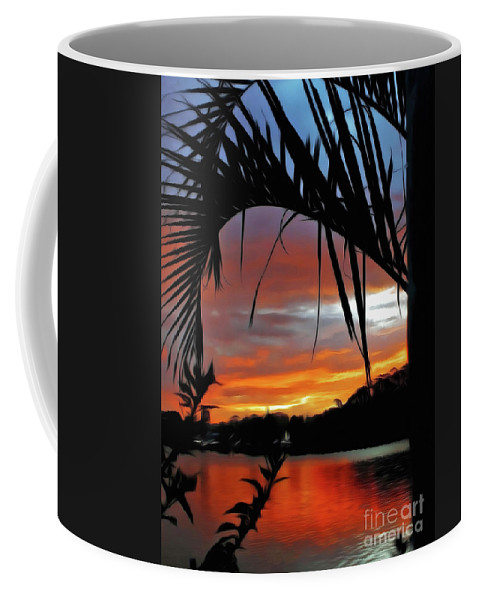 Palm Framed Sunset Coffee Mug featuring the photograph Palm Framed Sunset by Kaye Menner