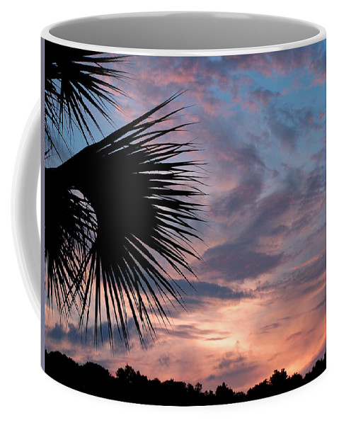 Nature Coffee Mug featuring the photograph Palm Frond At Dusk by Peg Urban