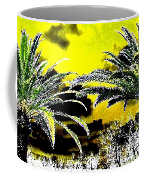 Palm Trees Coffee Mug featuring the digital art Palm Paradise  by Will Borden
