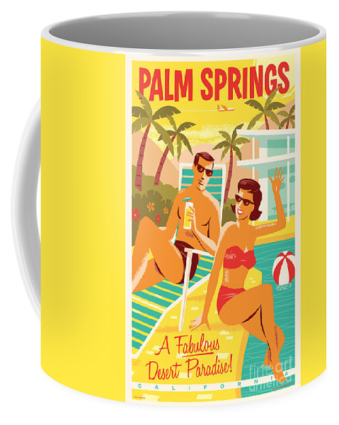 Pop Art Coffee Mug featuring the digital art Palm Springs Poster - Retro Travel by Jim Zahniser