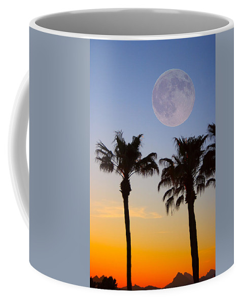 Palm Coffee Mug featuring the photograph Palm Tree Full Moon Sunset by James BO Insogna