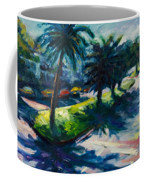 Cityscape Coffee Mug featuring the painting Palm Trees by Rick Nederlof