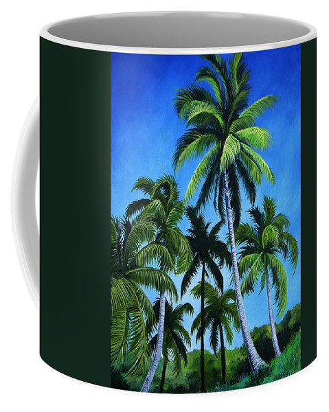 Palms Coffee Mug featuring the painting Palm Trees Under A Blue Sky by Juan Alcantara