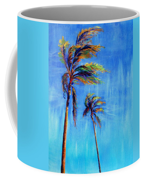 Landscape Coffee Mug featuring the painting Palmas Viento by Lynee Sapere