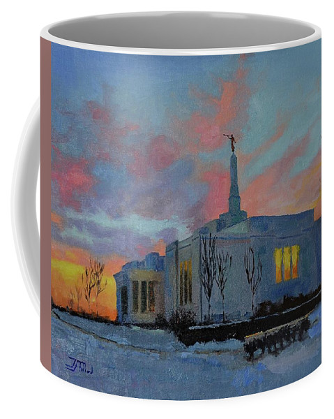 Oil Painting Coffee Mug featuring the painting Palmyra Temple At Sunset by Jan Christiansen