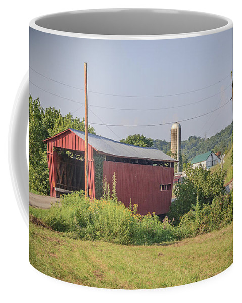 America Coffee Mug featuring the photograph Palos Covered Bridge by Jack R Perry