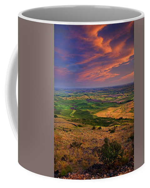 Palouse Coffee Mug featuring the photograph Palouse Skies Ablaze by Mike Dawson