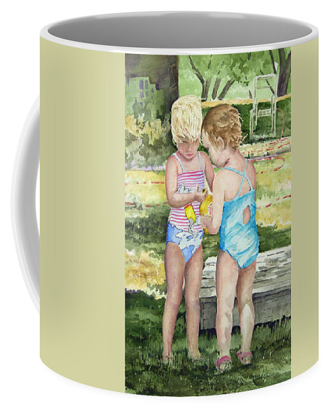 Children Coffee Mug featuring the painting Pals Share by Sam Sidders