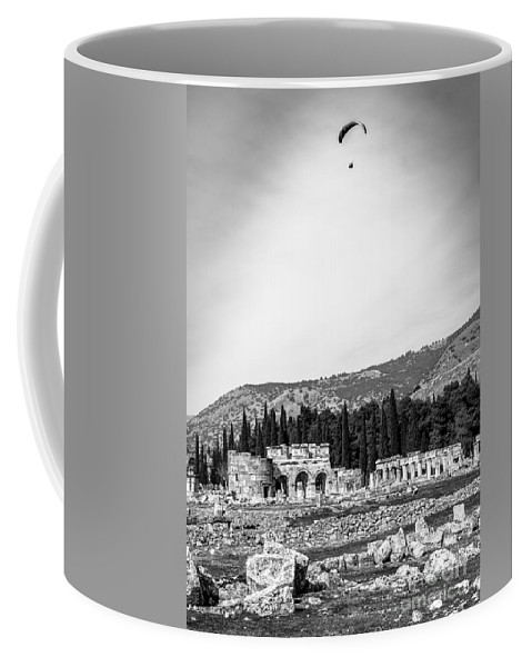 Paragliding Coffee Mug featuring the photograph Paragliding Over The Ruins Of Pamukkale by Rene Triay Photography