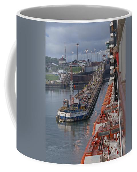 Panama Coffee Mug featuring the digital art Panama Canal by Heather Coen
