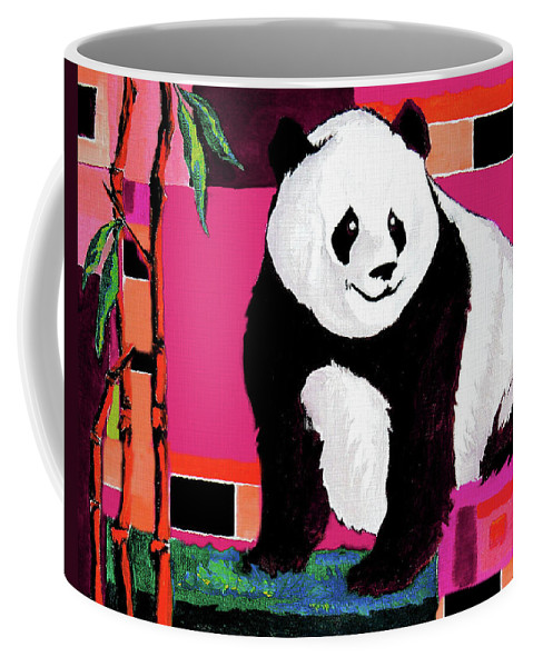 Panda Coffee Mug featuring the painting Panda Abstrack Color Vision by Alban Dizdari