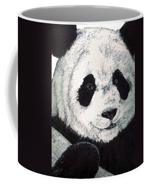 Panda Coffee Mug featuring the painting Panda by Debra Sandstrom