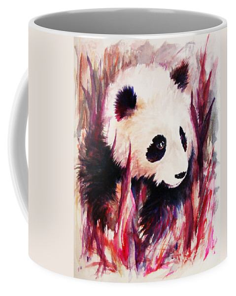 Panda Coffee Mug featuring the painting Panda by Rachel Christine Nowicki