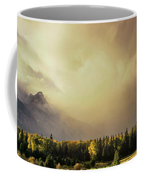 North America Coffee Mug featuring the photograph Panorama Clearing Storm Over The Grand Tetons by Dave Welling