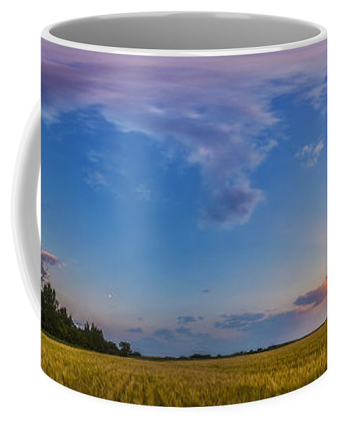 Alberta Coffee Mug featuring the photograph Panorama Of A Colorful Sunset by Alan Dyer