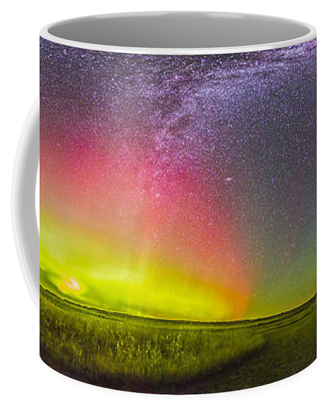 Aurora Coffee Mug featuring the photograph Panorama Of An Aurora And The Milky Way by Alan Dyer