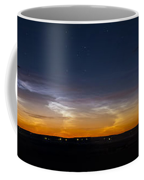 Alberta Coffee Mug featuring the photograph Panorama Of Noctilucent Clouds by Alan Dyer