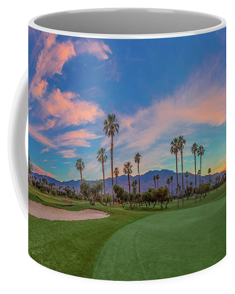Palm Springs Coffee Mug featuring the photograph Panorama Palm Springs Golfing by Scott Campbell