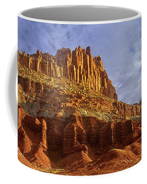 North America Coffee Mug featuring the photograph Panorama The Castle On A Cloudy Morning Capitol Reef National Park by Dave Welling