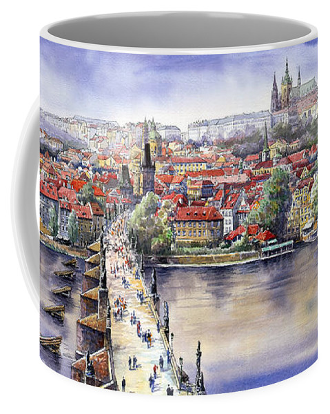 Watercolour Coffee Mug featuring the painting Panorama with Vltava river Charles Bridge and Prague Castle St Vit by Yuriy Shevchuk