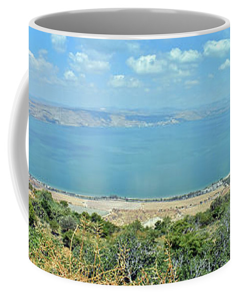 Sea Of Galilee Coffee Mug featuring the photograph Panoramic View Of The Sea Of Galilee by Lydia Holly