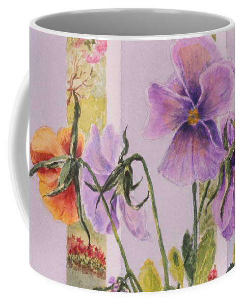 Florals Coffee Mug featuring the painting Pansies On My Porch by Mary Ellen Mueller Legault