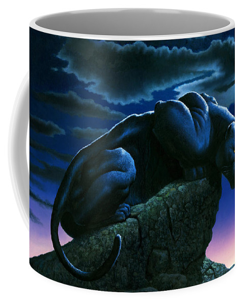 Aggressive Coffee Mug featuring the photograph Panther On Rock by MGL Studio - Chris Hiett