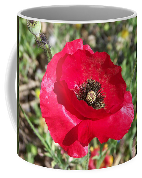 Red Coffee Mug featuring the photograph Paper Flower by Kathy McClure