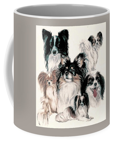 Toy Group Coffee Mug featuring the mixed media Papillon And Phalene Collage by Barbara Keith